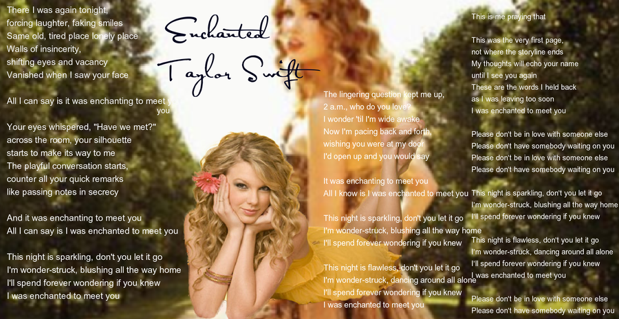 Taylor Swift Enchanted lyrics by Sapphire-Arkenstone on ...