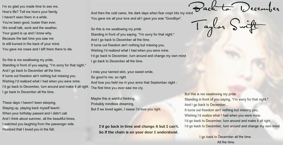Taylor Swift - Back To December Lyrics | MetroLyrics