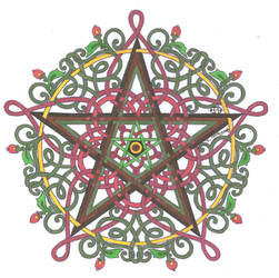 Pentagram Knotwork with Roses