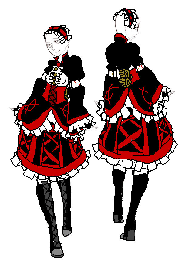 REFERENCE: Ally's Dress Design- Front/Back by InvaderIka