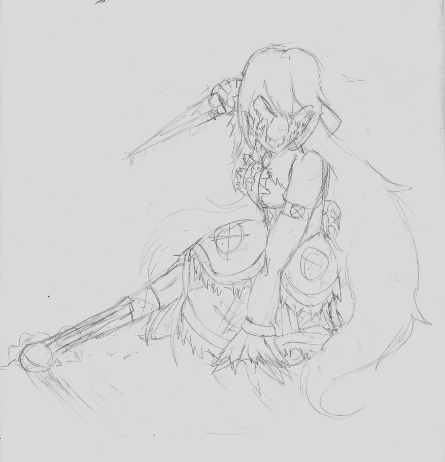TRADITIONAL: Nightmare Ally Action Pose Doodle 3 by InvaderIka