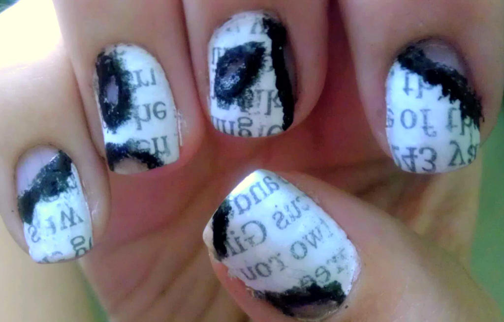 Burned Newspaper Nail Art By Wolfgirl4716