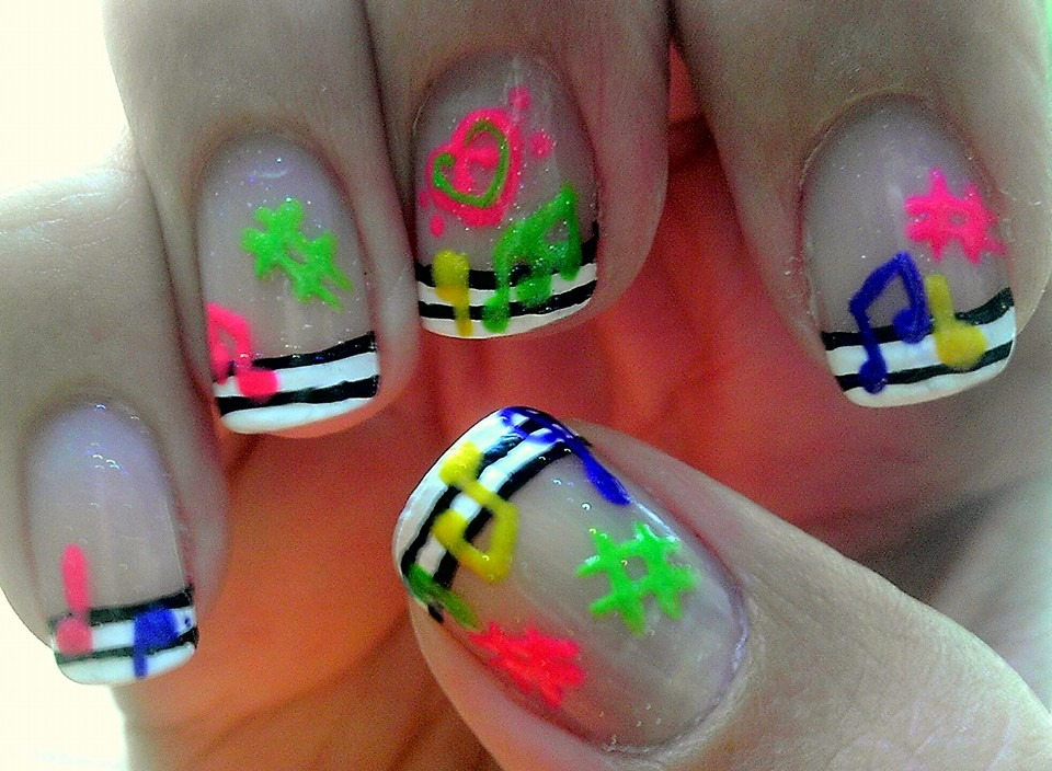 Colorful Music Notes Nail Art by wolfgirl4716 on DeviantArt