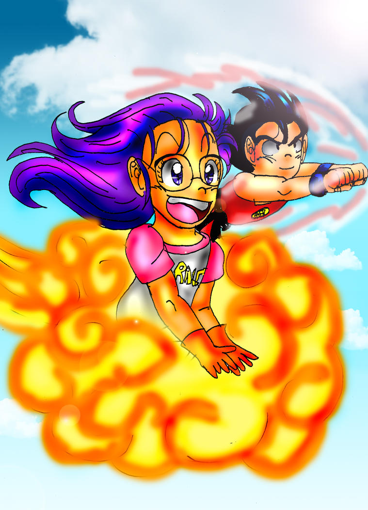 Goku and Arale: Let's fly away by *MihoNosaka on deviantART