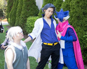 Prof Sycamore with Espurr and Greninja
