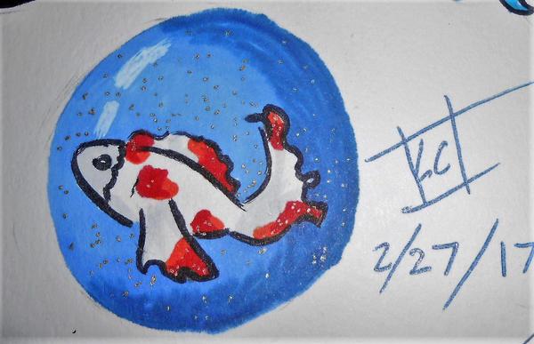 koi fish by Cloverangelofdarknes