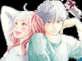 Render: Ao haru ride - Futaba and Kou by Panelletdelimon