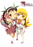 Render: Bakemonogatari series - Mayoi and Shinobu by Panelletdelimon