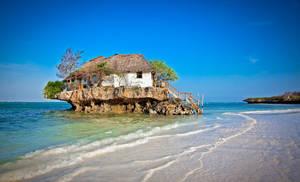 Staircase Island House Sea Trees Beach Ocean 6000x