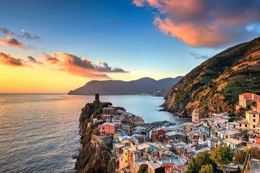 Italy Houses Coast Mountains Sky Clouds Vernazza C