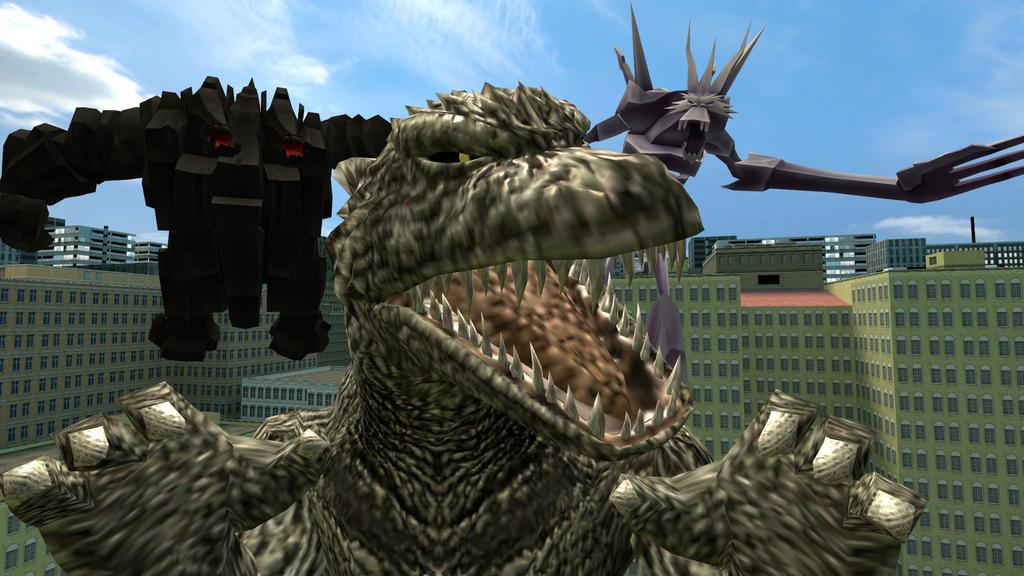 Godzilla Vs Ice Titan And Rock Titan By Jjsonicblast86 On