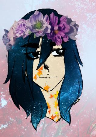 The girl with galaxy hair by SadBLACKsheep