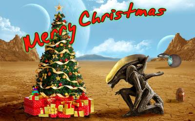 Alien Christmas postcard