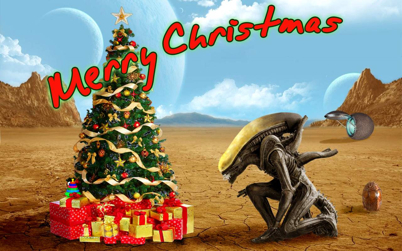 Alien Christmas postcard