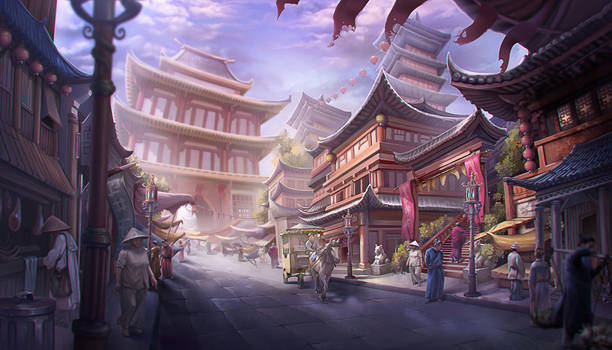 Old Chinese marketplace