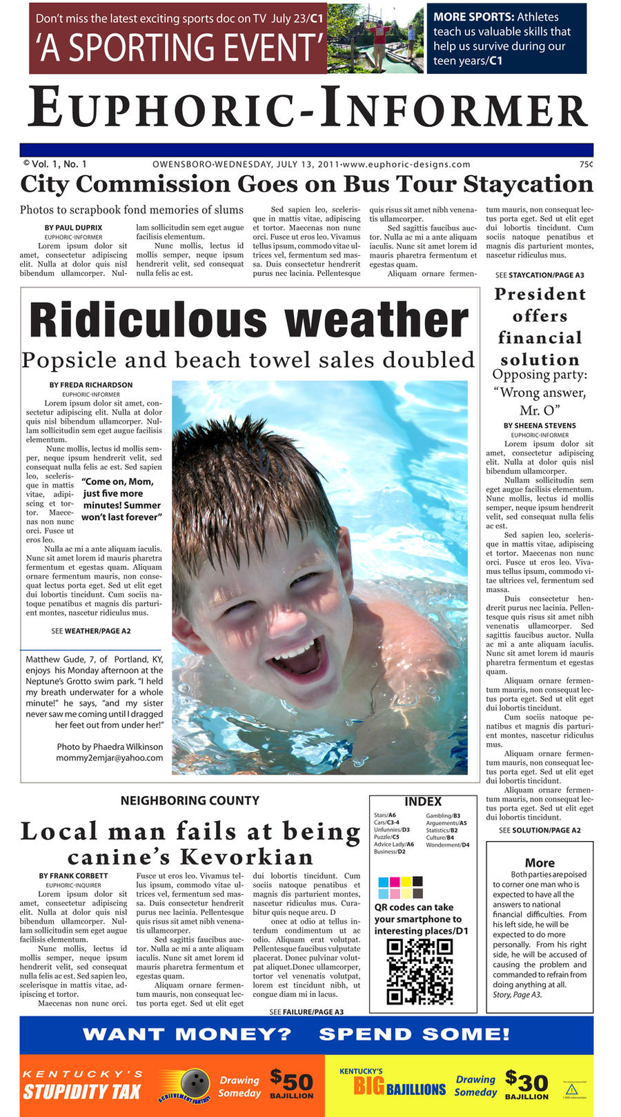 InDesign Exercise: Parody Newspaper Layout by euphoriafish