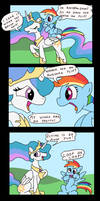 Celestia and Rainbow Dash hang out