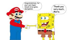 Mario congrats to Spongebob