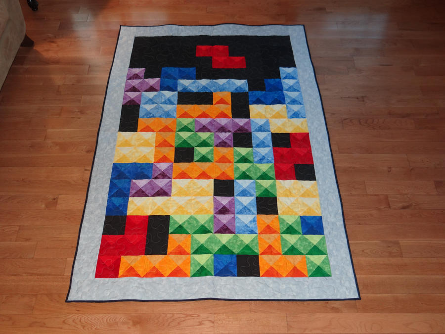 Tetris Design 1, 3 color quilt by quiltoni