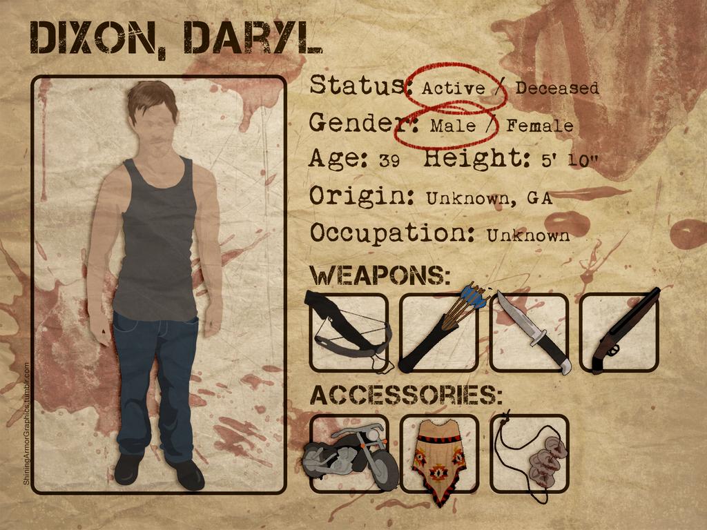 The Walking Dead Dossiers Daryl Dixon By NightmareAngel 91779