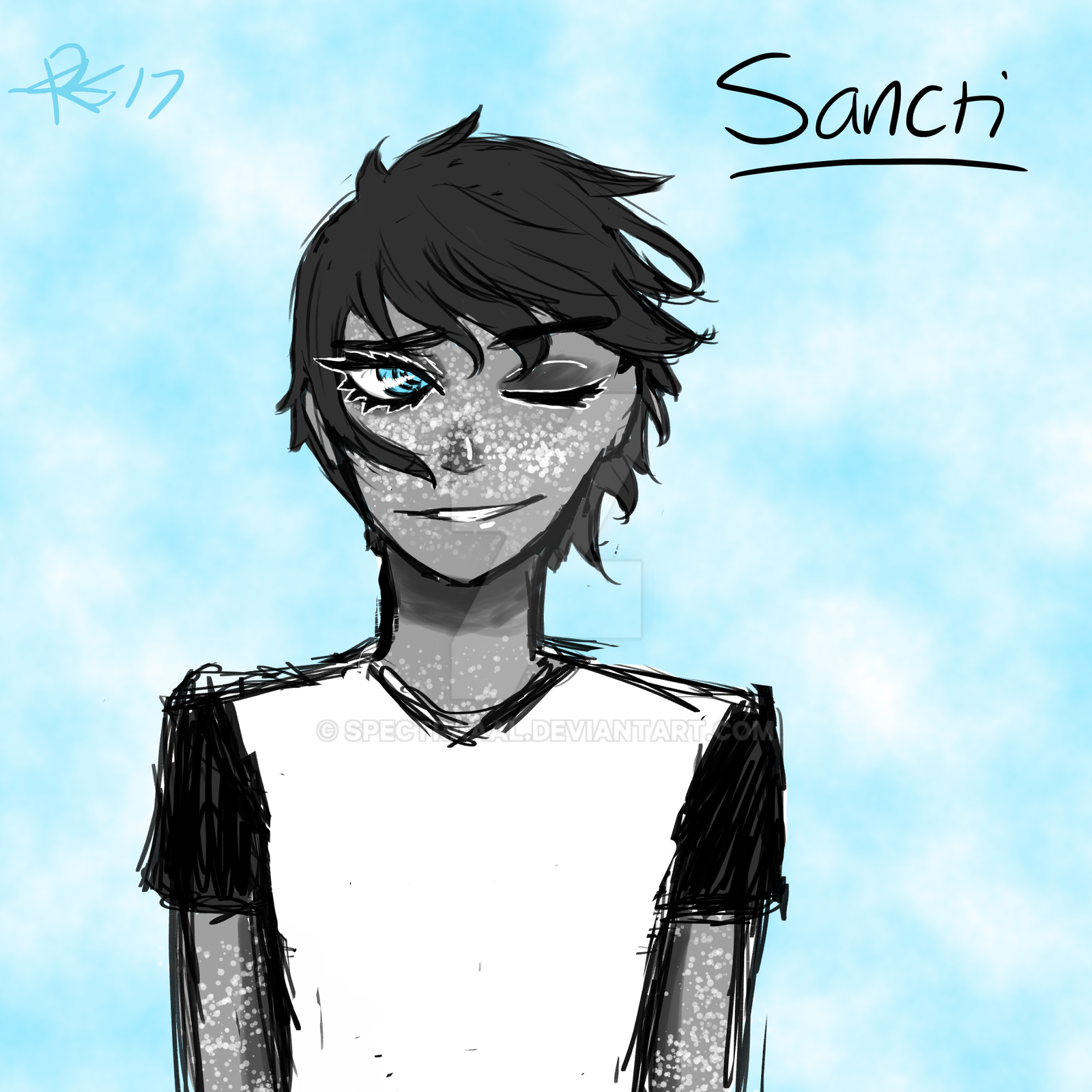 Sancti (Demon OC - sketch) by CryDontSmile