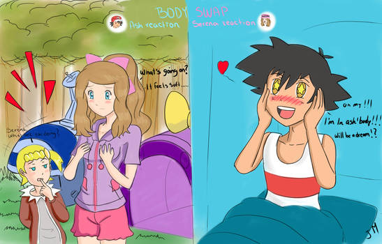 Request :Body swap :Ash and Serena by superjetjohn117
