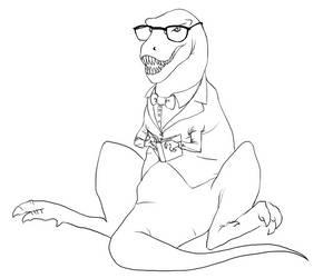 T-Rex reading a book by BigYellowBird