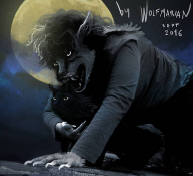 Transforming.... September full moon 2016 by wolfmarian