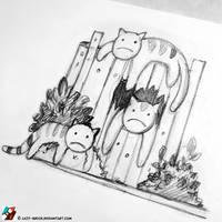 Sad Cats by lazy-brush