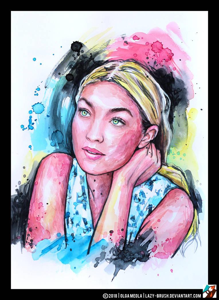 Portrait of Gigi Hadid by lazy-brush