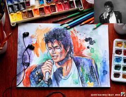 Portrait of Michael Jackson (photo vs portrait) by lazy-brush
