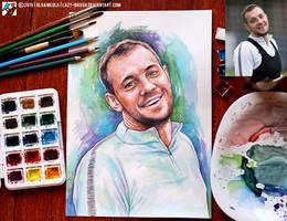 Portrait of Artem Dzyuba (photo vs portrait) by lazy-brush