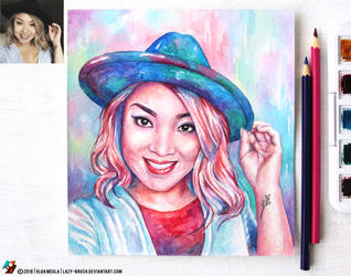 Portrait of a girl in a hat (final) by lazy-brush