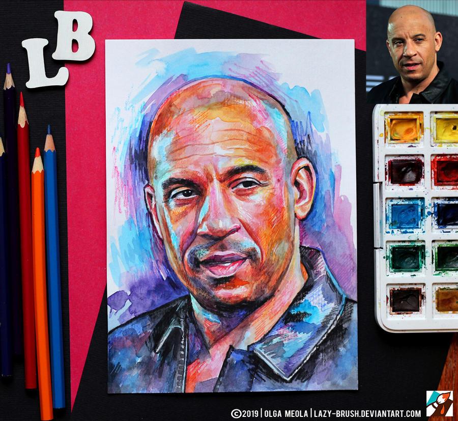 Portrait of Vin Diesel (final) by lazy-brush