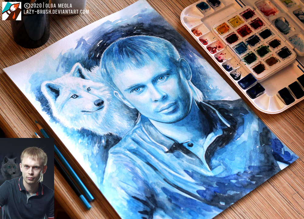 Portrait of a man with a white wolf (Commission) by lazy-brush