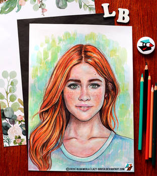 Portrait of a girl with fiery hair (Final) by lazy-brush