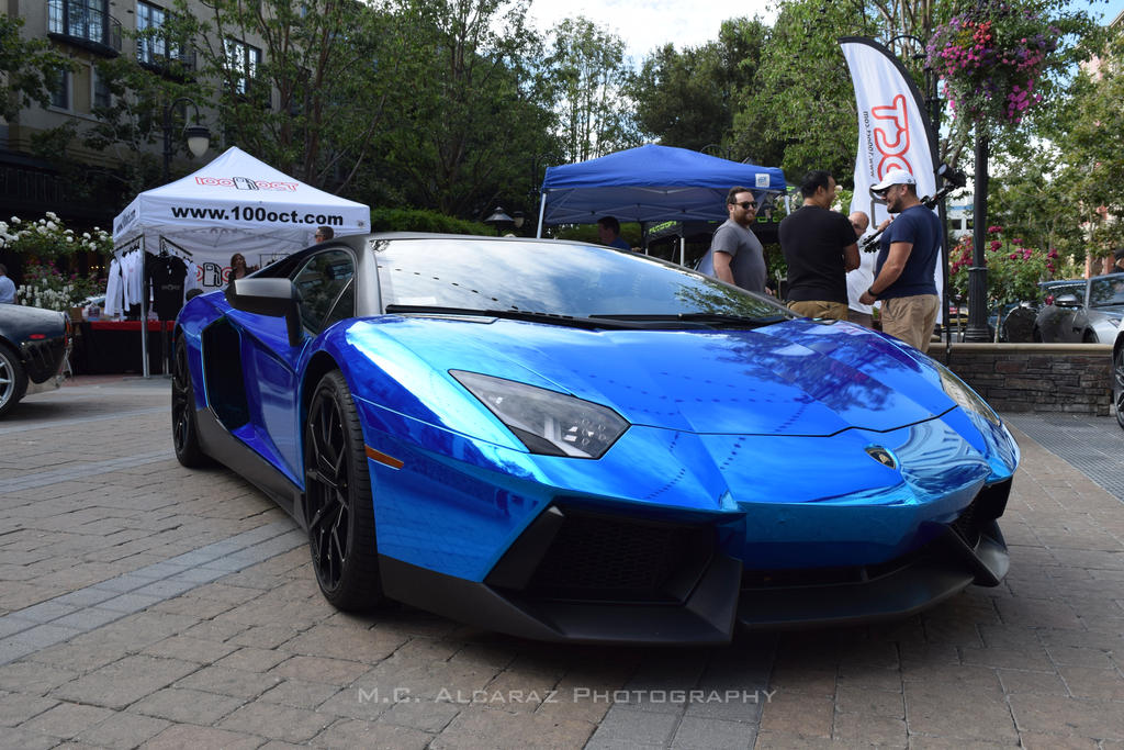 Lamborghini aventador blue chrome