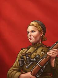 Roza Shanina, soviet sniper by RUGIDOart