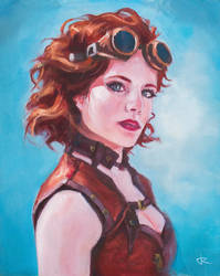Steampunk girl painting by RUGIDOart