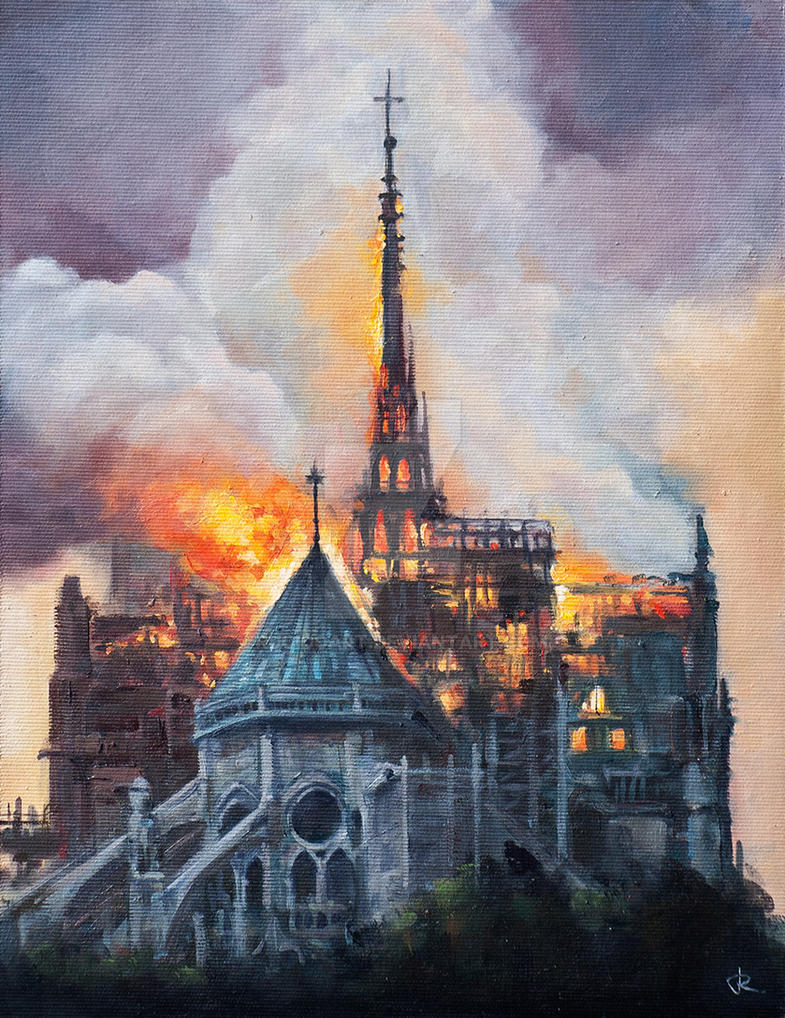Notre Dame burning, Oil Painting by RUGIDOart
