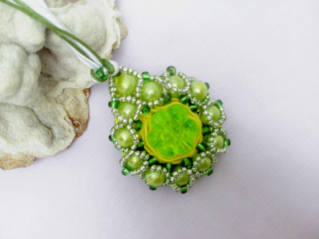 Green and yellow pendant by Mirtus63