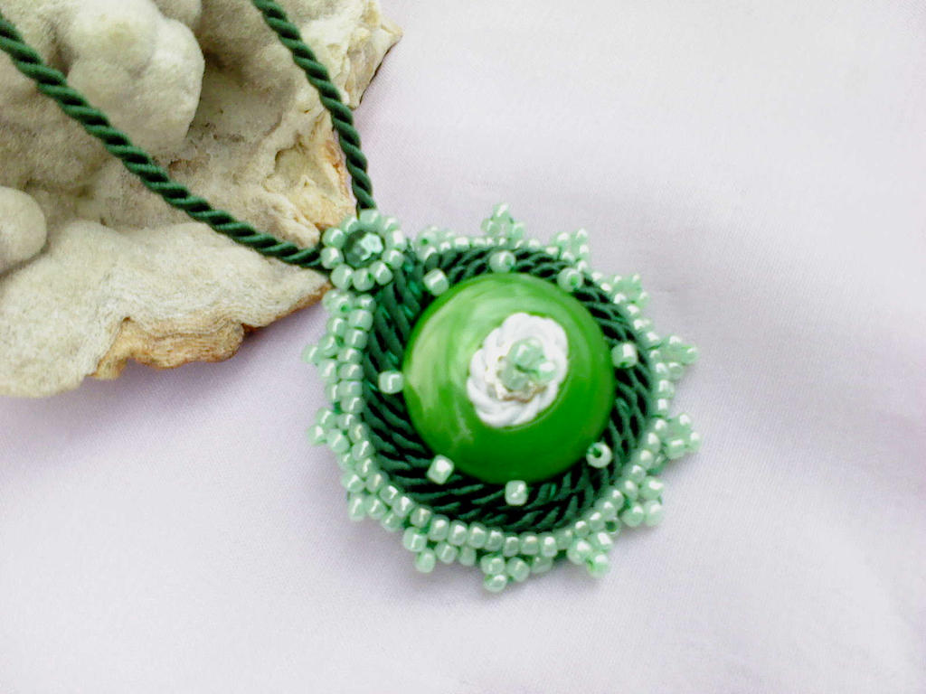 Green and white pendant by Mirtus63
