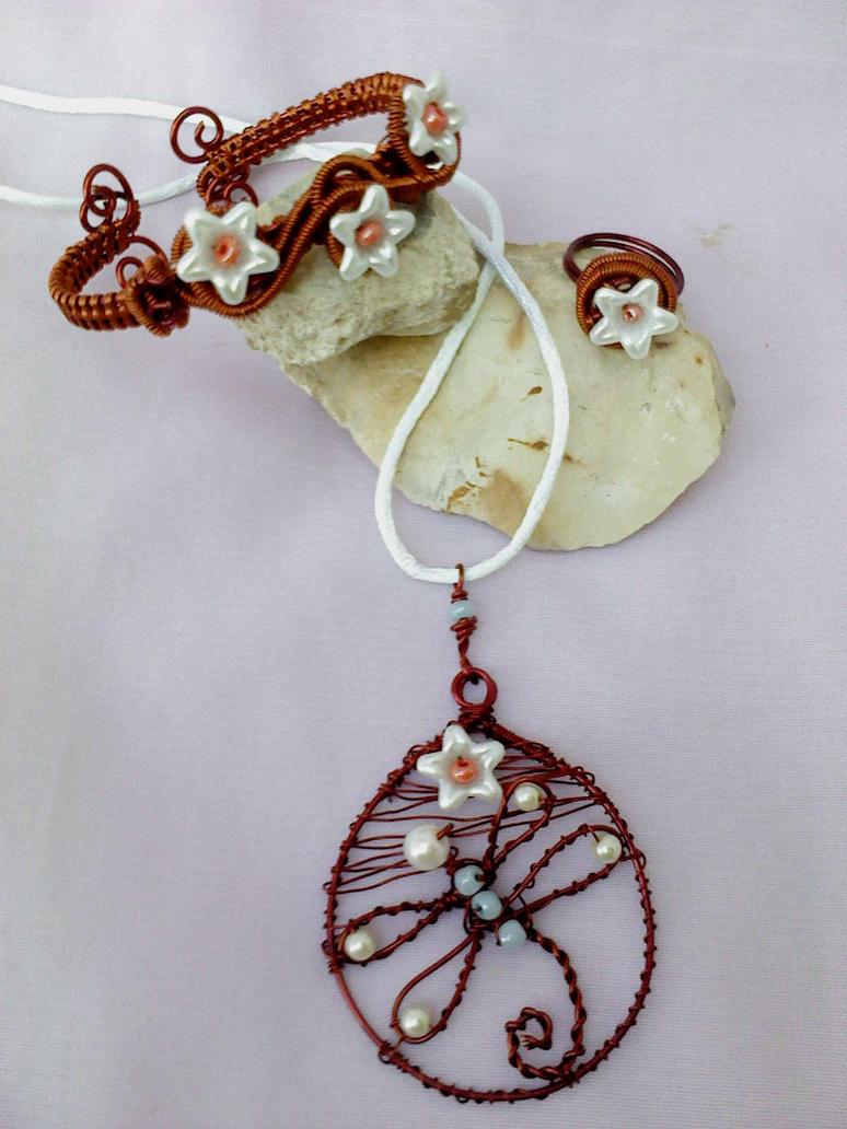 Copper jewelry set by Mirtus63