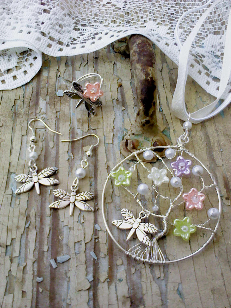 Dragonfly tree pendant ring and earring by Mirtus63