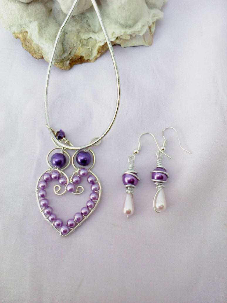 Purple owl pendant and earring by Mirtus63