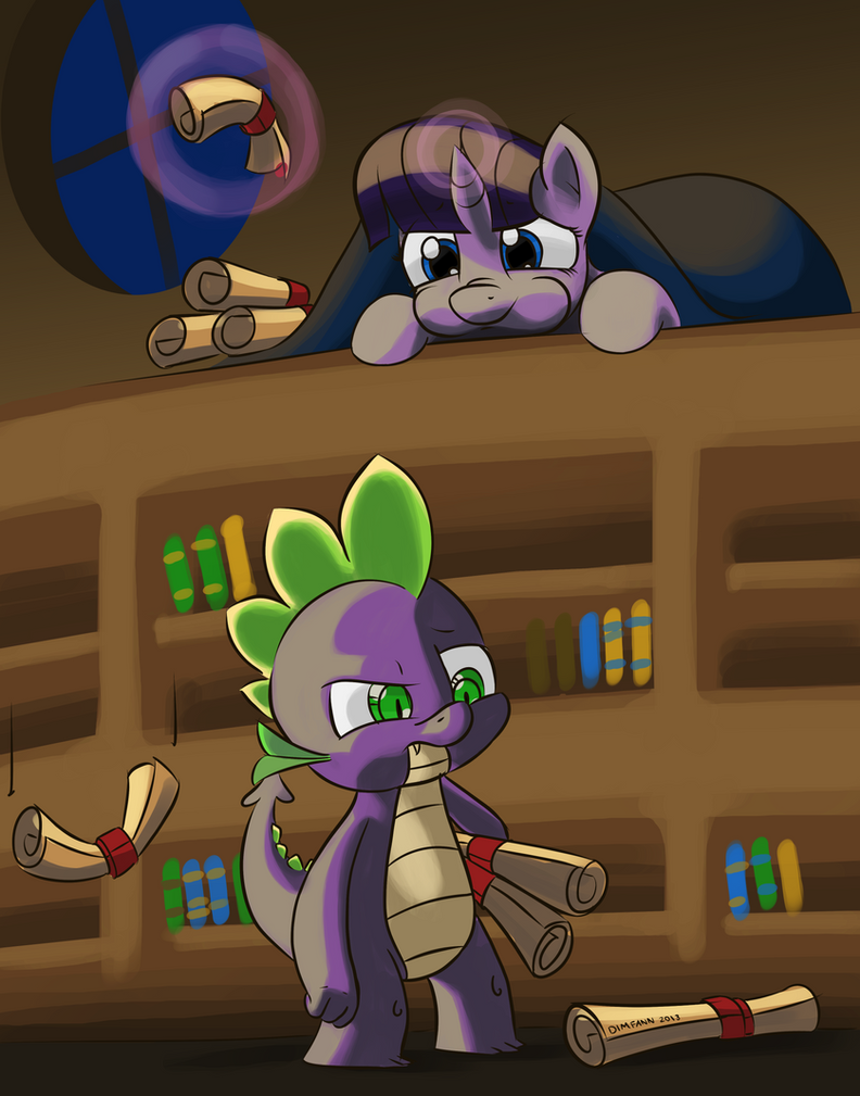 Twilight and Spike by DimFann