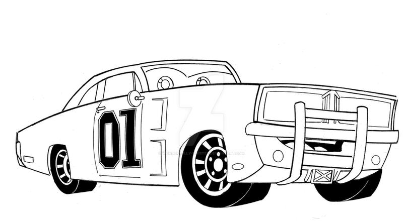 Dukes Of Hazzard General Lee Car - Free Coloring Pages