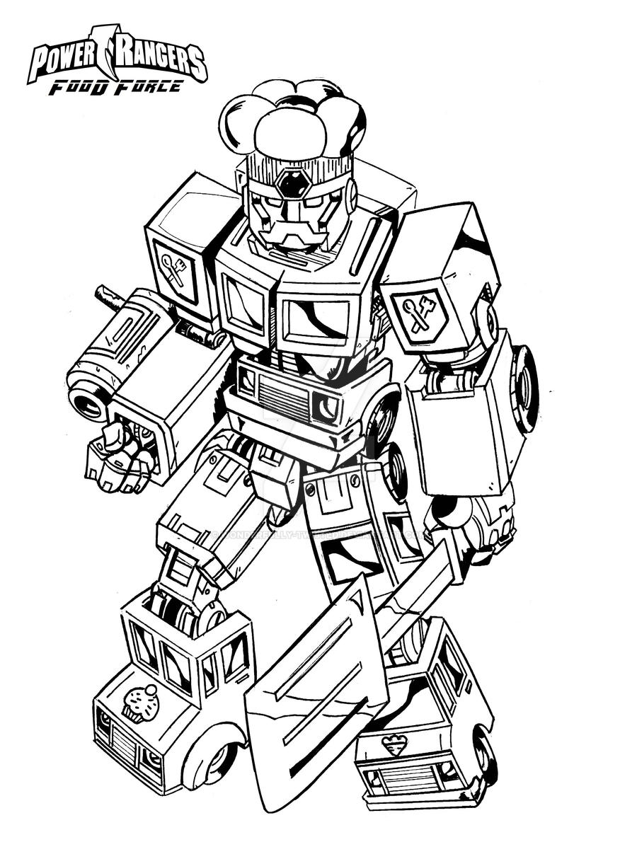 power rangers megazord coloring pages - power ranger food force megazord by wonderfully twisted