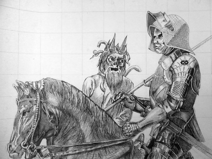 knight death and the devil A knight in profile riding forwards on a splendid horse he is in armour and stares resolutely straight ahead there is a wad of fur on the end of his pike (possibly a fox's brush) and oak leaves are tied to the horses head and tail - symbols of the return from a successful hunt behind the knight.