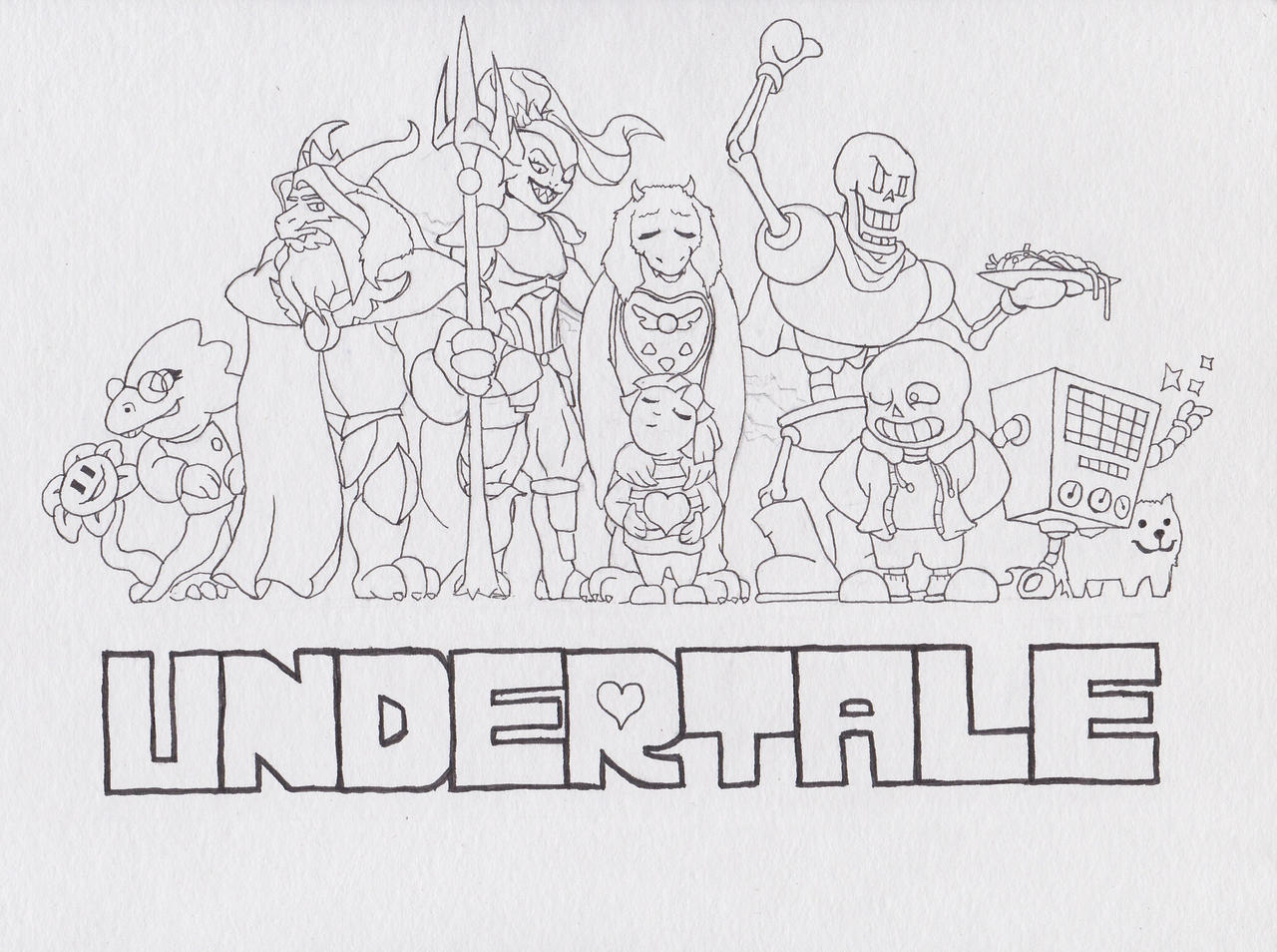 Undertale a lineart of a fanart by eibri on deviantart for Undertale coloring pages